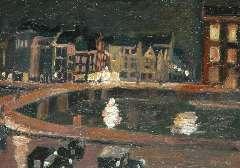 Maks C.J. - Het Rokin te Amsterdam, bij avond, olie op board 23 x 32,2 cm , gesigneerd r.o.