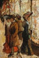 Helfferich F.W. - Etalages kijken bij avond in de Venestraat, Den Haag, olieverf op paneel 27,1 x 18,8 cm, gesigneerd l.o.