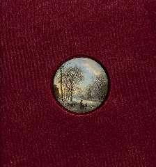 Koekkoek B.C. - Winterlandschap met schaatsers bij ondergaande zon, olie op koper 7 x 7 cm , gesigneerd l.o. met initialen en te dateren ca. 1827-1830
