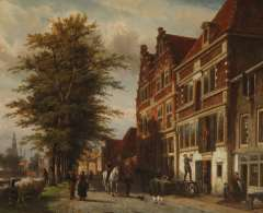 Springer C. - De binnenhaven van Hoorn bij zomer, met de hoofdtoren in de verte, olie op paneel 53,4 x 65,3 cm , gesigneerd r.o. met monogram en gedateerd 1875