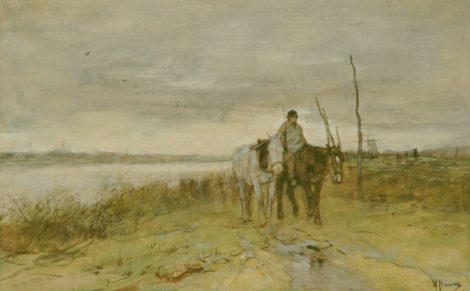 Mauve A. - Jaagpaarden, aquarel op papier 27 x 42,1 cm, gesigneerd r.o.