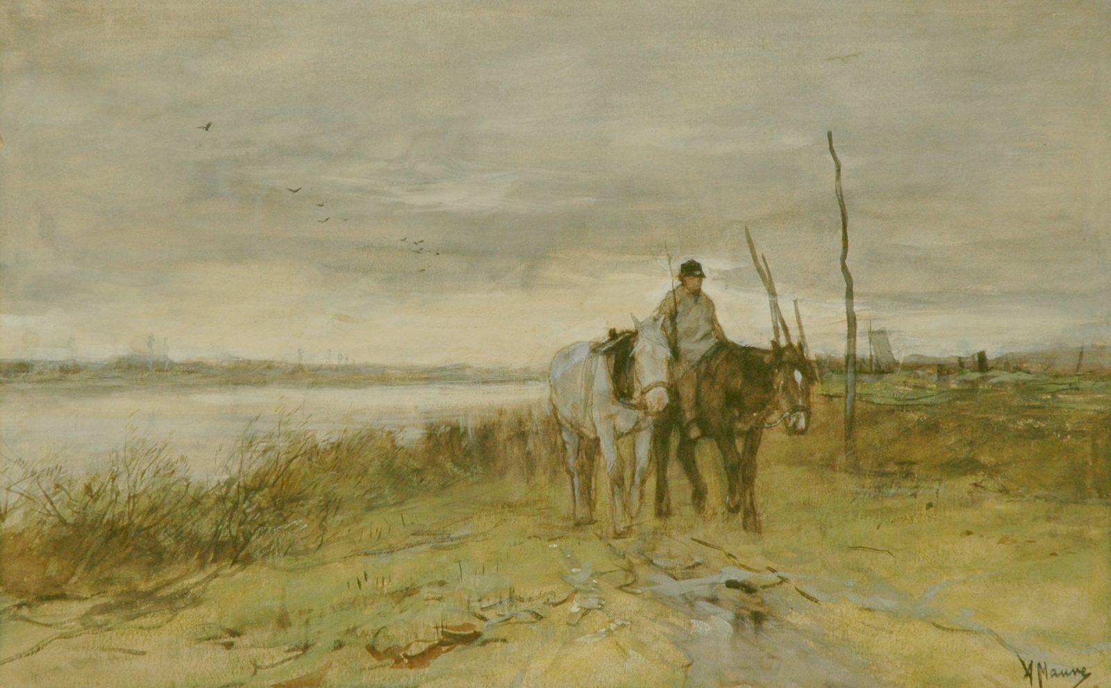 Mauve A. - Horses along a towpath, watercolour on paper 27 x 42.1 cm, signed l.r.