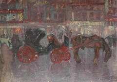 Niekerk M.J. - Wachtende huurkoetsen bij avond, Brussel, olieverf op board 61,3 x 84,5 cm, gesigneerd r.o.
