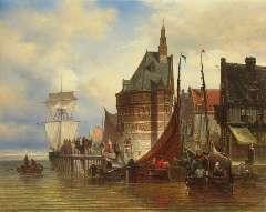 Bommel E.P. van - Afgemeerde schepen bij de hoofdtoren van Hoorn, olieverf op doek 42,5 x 53 cm, gesigneerd r.o. en op het spieraam gedateerd Juni 1877