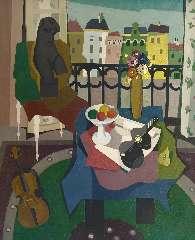 Bitter T. - Interieur met uitzicht (atelier Riouwstraat), olie op doek 120,2 x 97,9 cm , gesigneerd r.o. en gedateerd Mei' 47