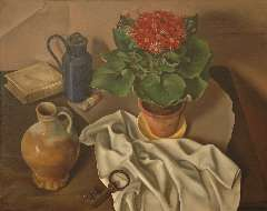 Breetvelt A. - A still life with a plant, jug and key, oil on canvas 60.4 x 75.1 cm , signed l.r. and dated '22 (key)