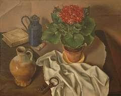 Breetvelt A. - Stilleven met plantje, kruik en sleutel, olieverf op doek 60,4 x 75,1 cm, gesigneerd r.o. en gedateerd '22 (vorm sleutel)