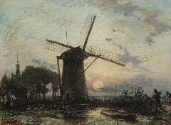 Jongkind J.B. - Molen bij zonsondergang bij Overschie, olie op doek 42,3 x 56,2 cm , gesigneerd l.o. en gedateerd 1859
