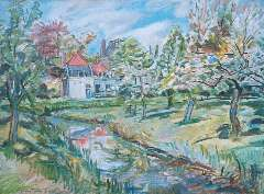 Sluijters jr. J, - Huis te loenersloot in het voorjaar, olie op doek 59,9 x 80 cm , gesigneerd l.o.