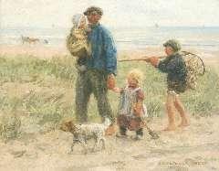 Zoetelief Tromp J. - Huiswaarts met de vangst, olie op doek 40,5 x 50,7 cm , gesigneerd r.o.