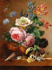 Koning E.J. - An exuberant flower still life on a marble ledge, oil on panel 35.1 x 26.7 cm , signed l.l. and dated 1841