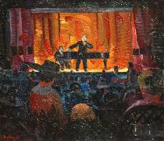 Bieling H.F. - Het Cabaret Artistique van J.L. Pisuisse, olie op doek 46,2 x 53,5 cm , gesigneerd l.o.