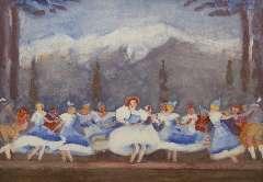 Maks C.J. - Tiroler ballet in de Bouwmeester Revue, Gouache op papier 48 x 68 cm , gesigneerd l.o. en te dateren ca. 1938