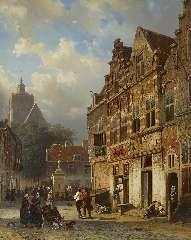 Springer C. - De Koopmanstraat en markt in Brielle, olie op paneel 50,1 x 40 cm , gesigneerd l.o. voluit en r.o. met monogram en r.o. gedateerd '54