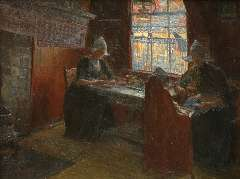 Benoit-Levy J. - Interior with Volendam women, oil on canvas 53.2 x 69.9 cm , signed l.r.