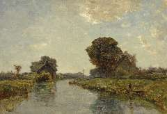Gabriel P.J.C. - A canal near Kortenhoef, oil on canvas 38.8 x 54.8 cm , signed l.l.