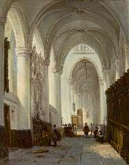 Buys G.M. - Interior of the Grote Kerk in Breda, with the memorial stone of Engelbert I of Nassau, oil on canvas 40.9 x 32.9 cm , signed l.l.
