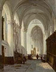 Buys G.M. - Interieur van de Grote Kerk in Breda, met het grafmonument van Engelbert I van Nassau, olie op doek 40,9 x 32,9 cm , gesigneerd l.o.