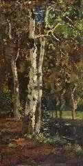 Bock T.E.A. - Berken bij een bosbeek, olie op paneel 52,8 x 26,6 cm , gesigneerd l.o. en gedateerd 9 maart 97