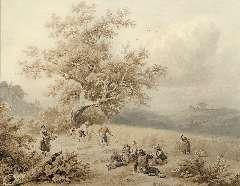 Koekkoek B.C. - Oogsttijd, inkt en aquarel op papier 19,6 x 24,9 cm , gesigneerd r.v.h.m. en gedateerd 1847