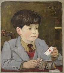Kamerlingh Onnes H.H. - Kind met speelkaarten, olie op doek 45,8 x 40,6 cm , gesigneerd r.o. met monogram en gedateerd 1946