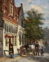 Springer C. - Straatje in Monnickendam, olie op paneel 25,1 x 19,8 cm , gesigneerd r.o. en gedateerd '80