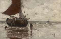 Munthe G.A.L. - Moored sailing ship along the coast, oil on canvas 62.9 x 96.4 cm , signed l.l.