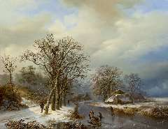 Bodeman W. - A winter landscape with skaters and farmers gathering wood,, oil on panel 58 x 75.4 cm , signed l.l.