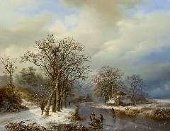 Bodeman W. - Winterlandschap met schaatsers en houtsprokkelaars, olieverf op paneel 58 x 75,4 cm, gesigneerd l.o.