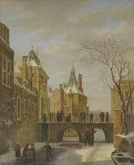 Hove B.J. van - Schaatsers bij de Grenadierspoort in Den Haag, olieverf op paneel 47,4 x 38,1 cm, gesigneerd r.o. en gedateerd 1823