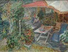 Sluijters jr. J. - Zonnig tuinterras met de vrouw van de schilder, olieverf op doek 50,3 x 65,3 cm, gesigneerd r.v.h.m.