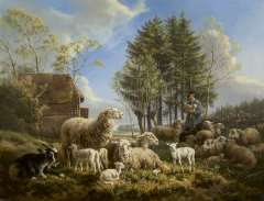 Ronner-Knip H. - Sheep with a shepherd in a landscape, olie op paneel 46.3 x 60.1 cm , signed l.r. and dated 1840