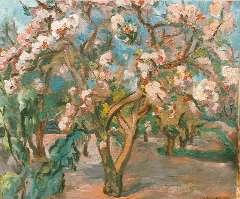 Wiegman M.J.M. - Bloeiende bomen, olie op doek 38 x 46 cm , gesigneerd r.o.