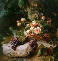 Haanen A.J. - A still life with roses and grapes, oil on canvas 102 x 88.3 cm , signed l.r.