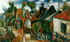 Velde G. van - Dorpsgezicht, olie op doek 45,3 x 65,8 cm , gesigneerd l.o.