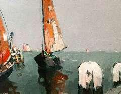 Hynckes R. - Volendamse botters op de Zuiderzee, olie op paneel 42,3 x 56 cm , gesigneerd l.o.