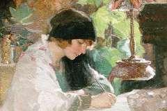 Goedhart J.C.A. - Portret van schrijvende vrouw, olie op doek 60 x 80,2 cm, gesigneerd l.o. en gedateerd 1930