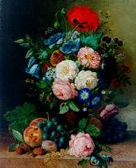 Ravenswaay A. van - Stilleven met bloemen, vruchten en insecten, olie op doek 51,2 x 41,4 cm , gesigneerd r.o.