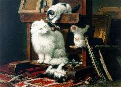 Ronner-Knip H. - Poezenfamilie in het atelier, olieverf op paneel 54,5 x 72 cm, gesigneerd r.o. en gedateerd 1878