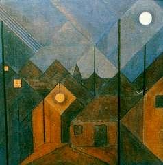 Loeber L.M. - Blaricum bij avond, olie op papier op doek 51,6 x 51,8 cm , gesigneerd l.o. met initialen en gedateerd '23