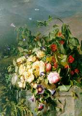 Haanen A.J. - Stilleven van rozen en een haagwinde, olieverf op doek 101,4 x 72,2 cm, gesigneerd r.o.