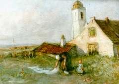 Blommers B.J. - Was bleken bij de Oude kerk, Katwijk, aquarel op papier 33,8 x 47,6 cm, gesigneerd l.o.