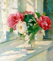 Dom P.L.C. - A still life with roses, oil on panel 37 x 33 cm , signed l.r. and dated 1915