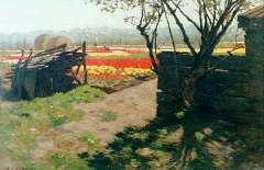 Koster A.L. - Bloembollenvelden, olie op doek 30,4 x 44,9 cm , gesigneerd l.o.