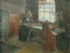 Benoit-Levy J. - Volendamse vrouwen en kind in de keuken, olie op doek 53,2 x 69,9 cm , gesigneerd r.o.