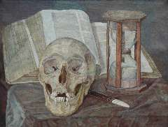 Pabst C.J. - Vanitas still life, oil on canvas 30.5 x 40.2 cm , signed l.r. and dated 1908