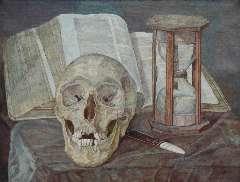 Pabst C.J. - Vanitas stilleven, olie op doek 30,5 x 40,2 cm , gesigneerd r.o. en gedateerd 1908