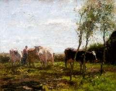 Maris W. - Melktijd, olie op doek 63 x 78,3 cm , gesigneerd l.o.