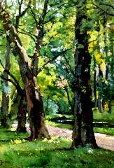 Bock T.E.A. de - Het park van Oranje Nassau's Oord bij Renkum, olieverf op doek 49,2 x 34,5 cm, gesigneerd l.o.