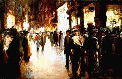 Helfferich F.W. - De Venestraat in Den Haag bij avond, olieverf op doek 65,3 x 100,5 cm